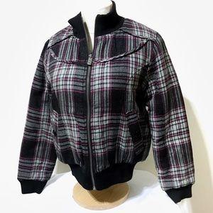 NWT Pink & Gray Plaid Bomber Style Coat/Jacket